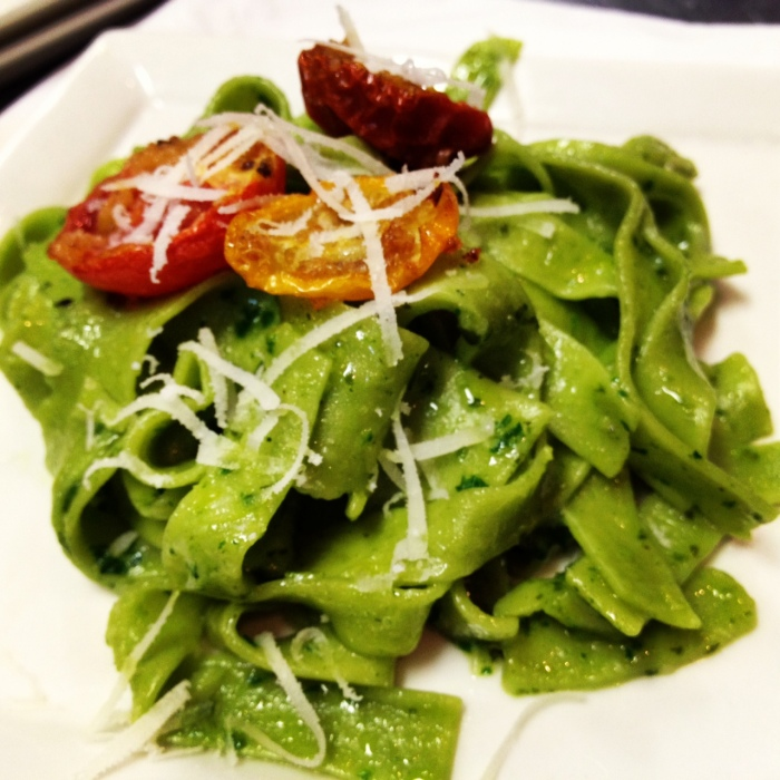Spinach Tagliatelle with Pesto & Pecorino