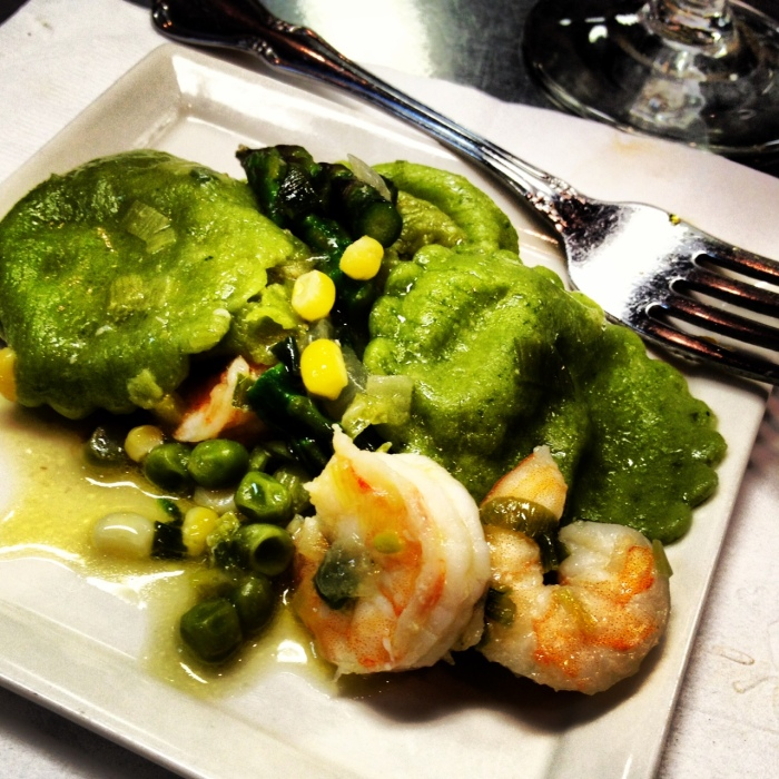 Asparagus Ravioli with Summer Vegetables & Shrimp